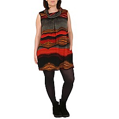Samya - Multicoloured cowl neck front pleated tunic