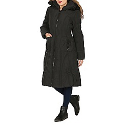 David Barry - Black stripe quilted hooded coat