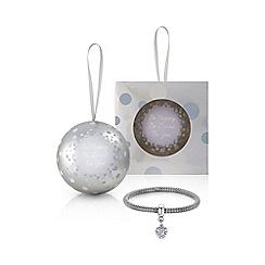 Buckley London - Silver heart charm bracelet christmas bauble
