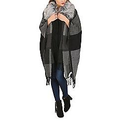 Apricot - Grey colour block furry neck cape