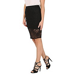Izabel London - Black knee length glitter skirt