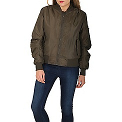 Stella Morgan - Khaki long sleeve zip bomber jacket