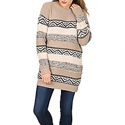 Apricot - Grey mixed stripe jumper dress