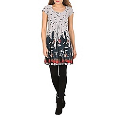 Tenki - Grey cap sleeve owl and bird print tunic dress