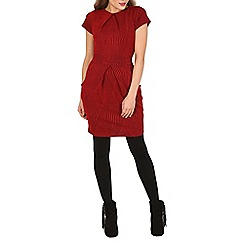 Tenki - Dark red short sleeve plain tulip dress