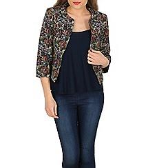 Apricot - Black floral tapestry crop jacket