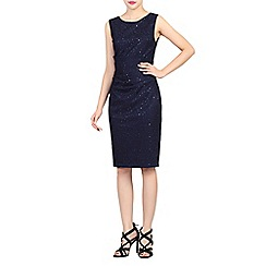Jolie Moi - Navy lace bonded sequin dress