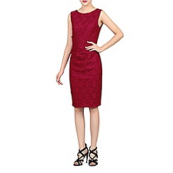 Jolie Moi - Dark red lace bonded sequin dress