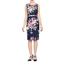 Jolie Moi - Navy floral print ruched shift dress