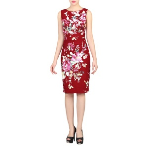 Plus Size Jolie Moi Dark Red Floral Print Ruched Shift Dress
