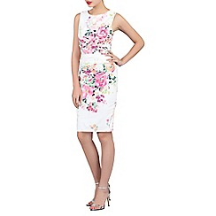 Jolie Moi - White floral print ruched shift dress