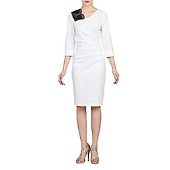 Jolie Moi - White lace bonded contrast dress