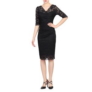 Plus Size Jolie Moi Black Scalloped Lace Dress