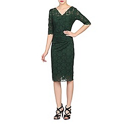 Jolie Moi - Dark green scalloped lace dress