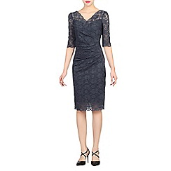 Jolie Moi - Dark grey scalloped lace dress