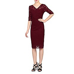 Jolie Moi - Dark red scalloped lace dress