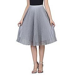 Jolie Moi - Grey lace pleated a-line skirt