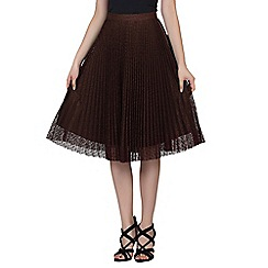 Jolie Moi - Brown lace pleated a-line skirt