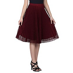 Jolie Moi - Dark red lace pleated a-line skirt