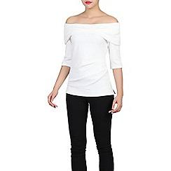 Jolie Moi - White bardot neck top
