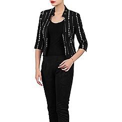 Jolie Moi - Black geo print open front blazer