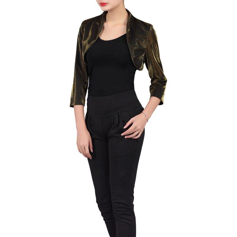 Plus Size Jolie Moi Black High Collar Bolero Jacket,