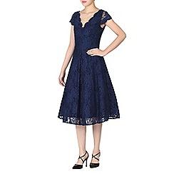 Jolie Moi - Navy cap sleeve scalloped lace dress