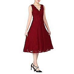Jolie Moi - Red scalloped v neck lace dress