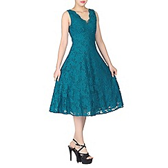Jolie Moi - Turquoise scalloped v neck lace dress