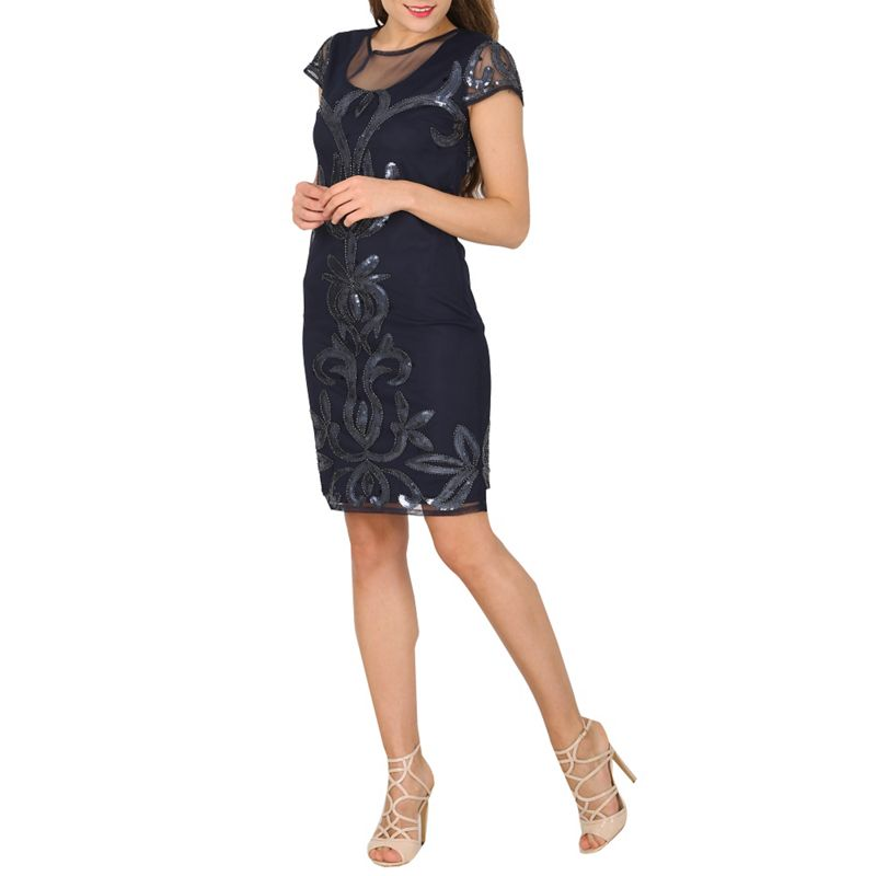 Solo Navy (Blue) Pearla Evening Dress, Womens, Party and