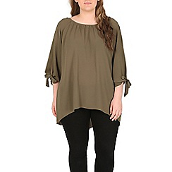 Samya - Khaki arm tie detail top