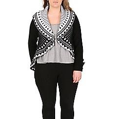Samya - Black long sleeve abstract print knitwear
