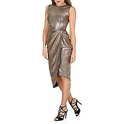 Izabel London - Gold bodycon metallic knot detail dress