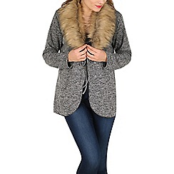 Stella Morgan - Grey tie up fur cardigan
