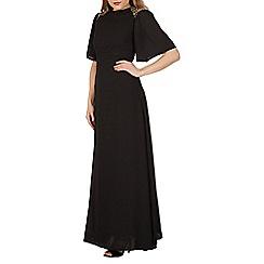 Mela - Black beaded shoulder maxi dress