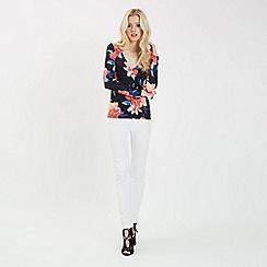Jane Norman - Multicoloured floral choker wrap top