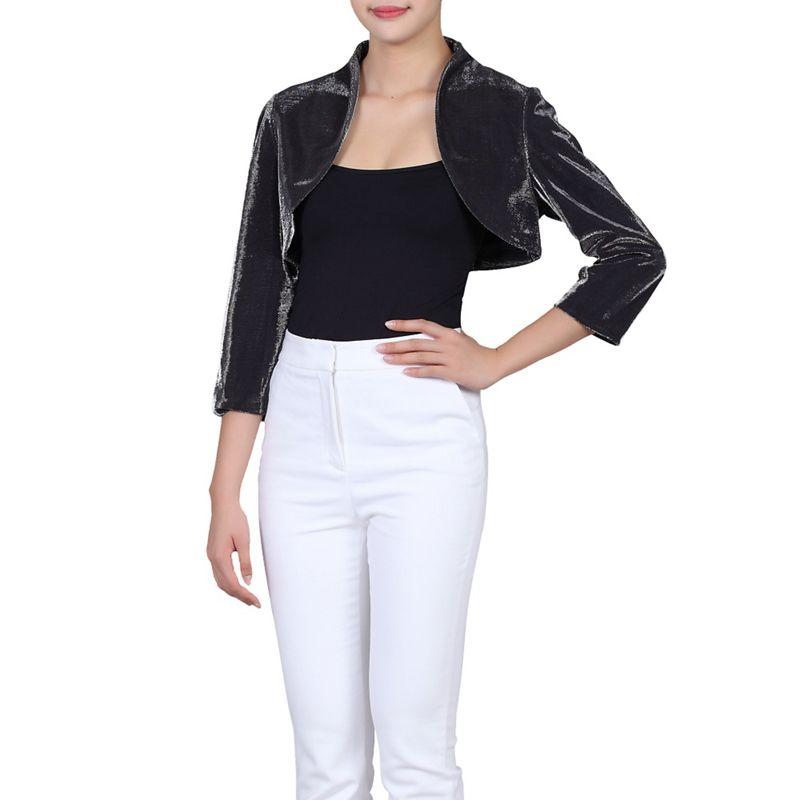 Jolie Moi Black High Collar Bolero Jacket, Womens, Size: 8