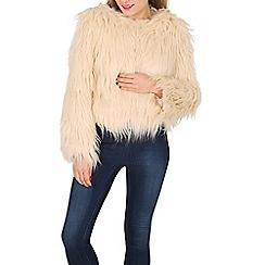 Apricot - Beige cream furry short jacket