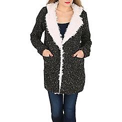 Apricot - Black black furry collar jacket