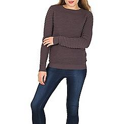 Apricot - Grey horizontal ribbed jumper