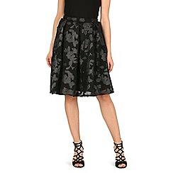 Apricot - Black floral applique skirt