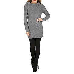 Izabel London - Grey long sleeve knitted bardot dress