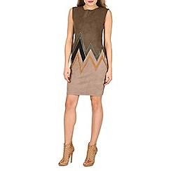 Izabel London - Khaki colour block zig zag print bodycon dress