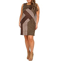 Samya - Khaki colour block geometric bodycon dress