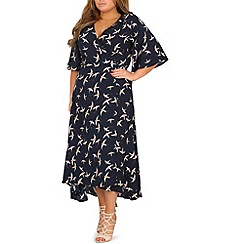 Samya - Navy swallow print wrap dress