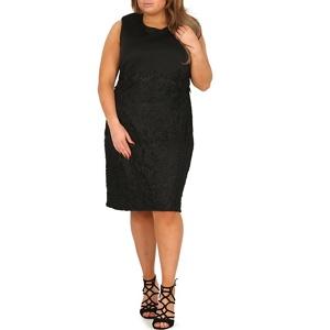 Plus Size Samya Black Laced Skirt Pencil Dress