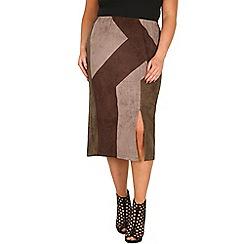 Samya - Khaki colourblock front slit skirt