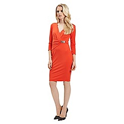 Jane Norman - Orange wrap 3/4 sleeve dress