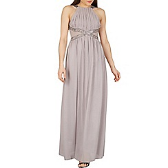 Izabel London - Grey embellished lace panel maxi dress