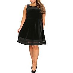 Samya - Black plus size sheer velvet skater dress